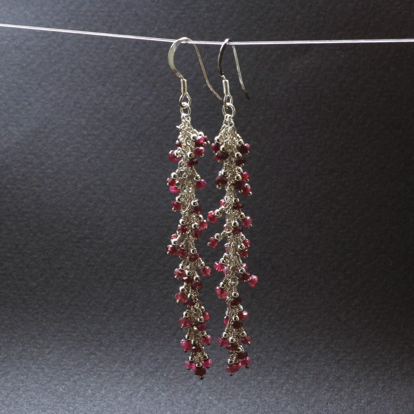Pink Sapphire gemstone Sterling Silver earrings handmade