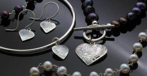Handmade textured Silver jewellery natural forms