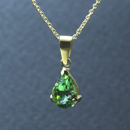 Modern yellow gold green tourmaline elegant gemstone jewellery