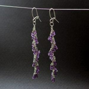 Amethyst gemstone Silver earrings, handcrafted by Sophie Saunders.