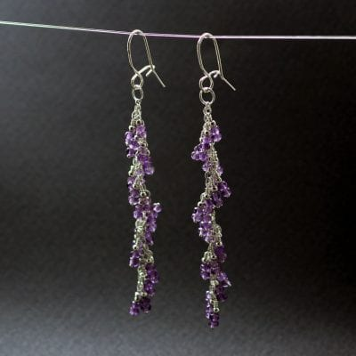 Amethyst gemstone Silver earrings, handcrafted by Sophie Saunders.
