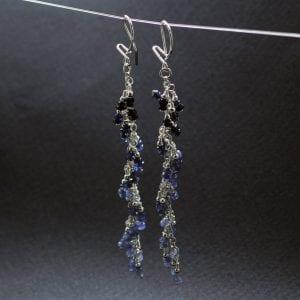 Blue Sapphire gemstone Silver earrings, handcrafted by Sophie Saunders