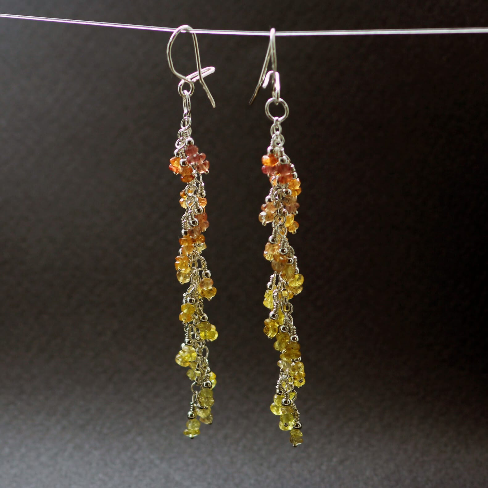 Yellow Sapphire gemstone Silver earrings, handcrafted by Sophie Saunders.