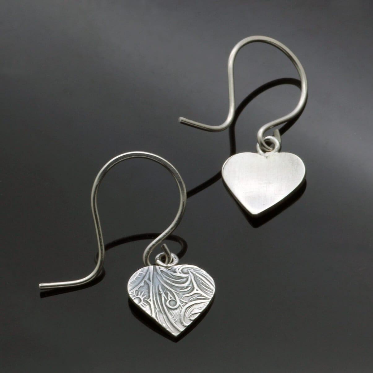 Modern Heart shaped Silver textured droplet earrings