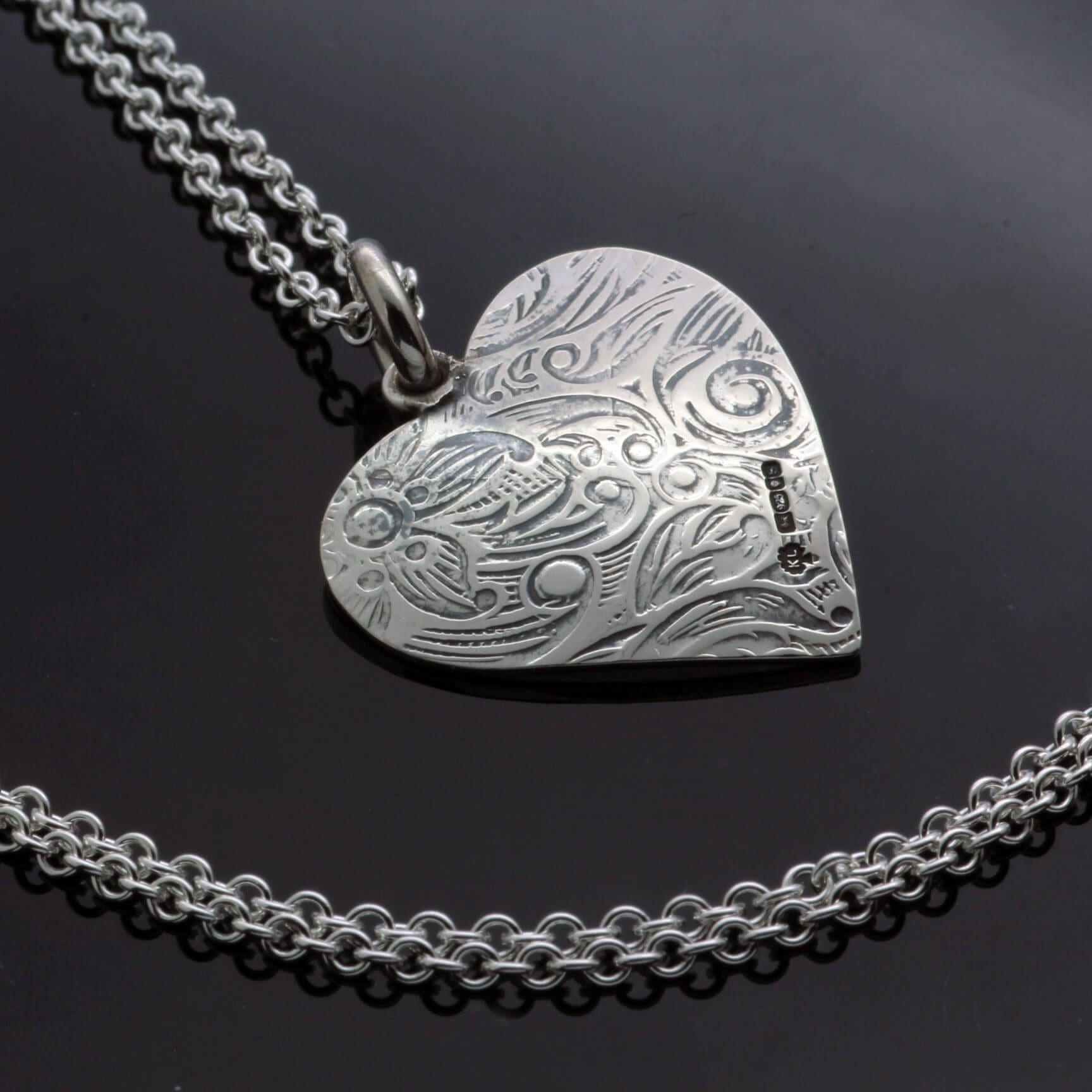 Handmade textured heart pendant paisley print