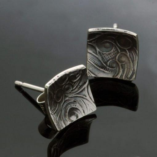 Modern square geometric textured silver stud earrings