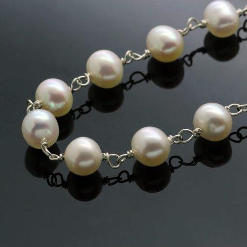 White pearl handmade Sterling Silver modern bracelet