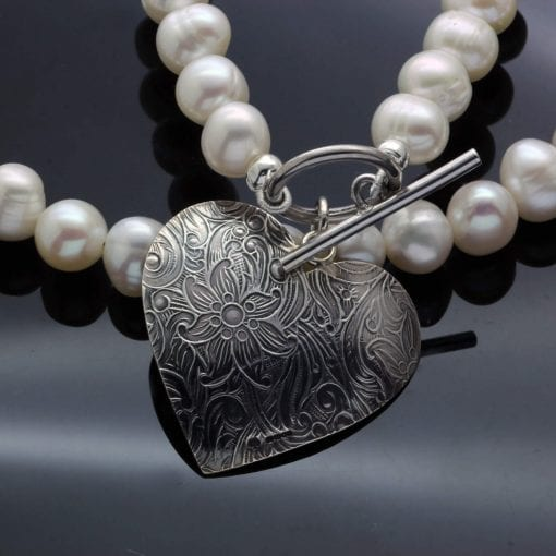 Handmade modern necklace white pearl silver paisley heart