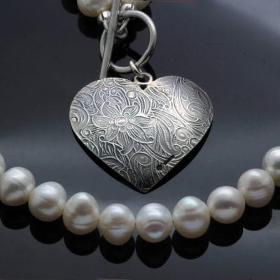 Statement feminine necklace white pearls handmade silver heart