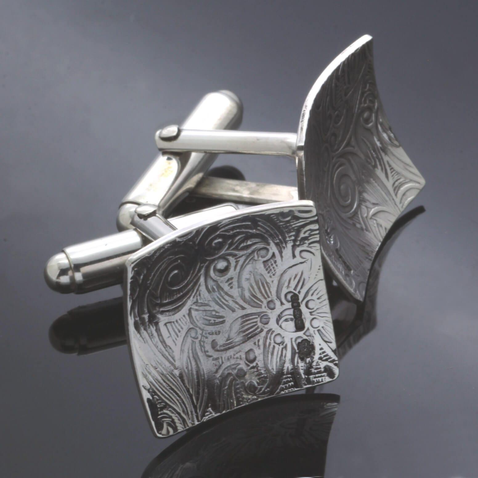 Handmade textured Sterling Silver cufflinks