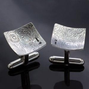 Textured solid Sterling Silver mens cufflinks groomsman
