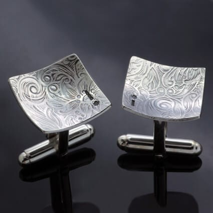 Textured solid Sterling Silver mens cufflinks groomsman