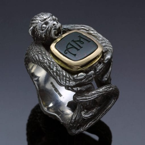 Unique quirky handmade mens signet ring hand engraved