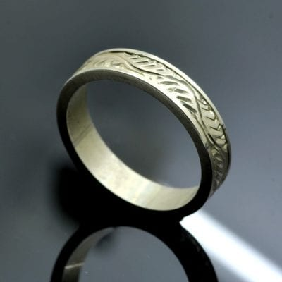 Hand engraved solid Sterling Silver ring