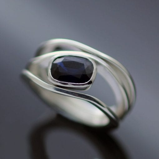Bespoke custom made cocktail ring Sapphire Sterling Silver