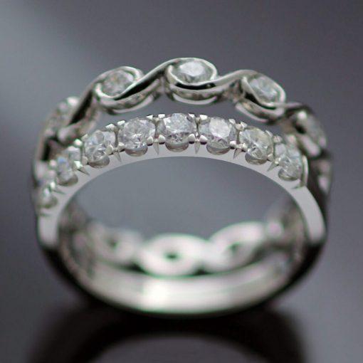 Bespoke handmade diamond platinum rings unique modern design
