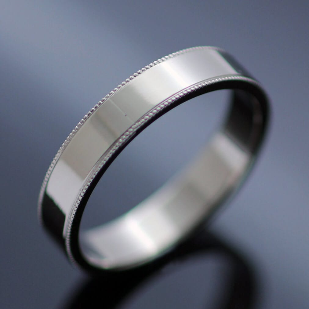 Bespoke handcrafted flat wedding band 18ct white gold scalloped edge
