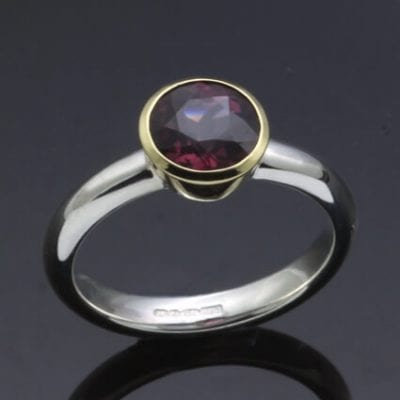 African Garnet 18ct yellow gold handmade modern ring