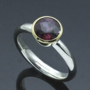 Modern handmade birthstone jewellery Garnet yellow gold silver ring