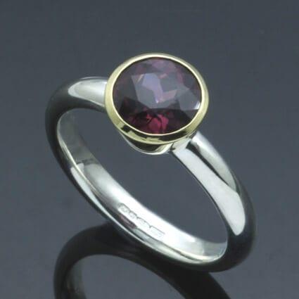 Modern handmade birthstone jewellery Garnet yellow gold silver ring