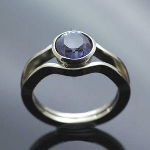 Iolite 14ct White Gold handmade bespoke engagement ring