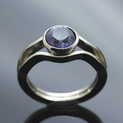 Iolite 14ct White Gold handmade bespoke engagement ring