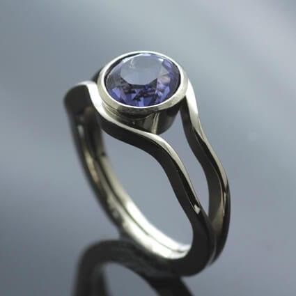 Bespoke Iolite gemstone White Gold unique engagement ring