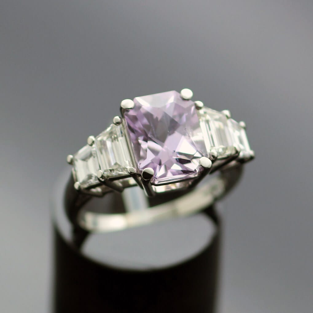 Bespoke trilogy ring handmade in platinum lilac sapphire diamonds