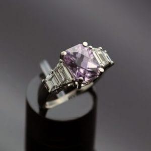 Unique bespoke modern trilogy ring Madagascan lilac sapphire diamonds platinum