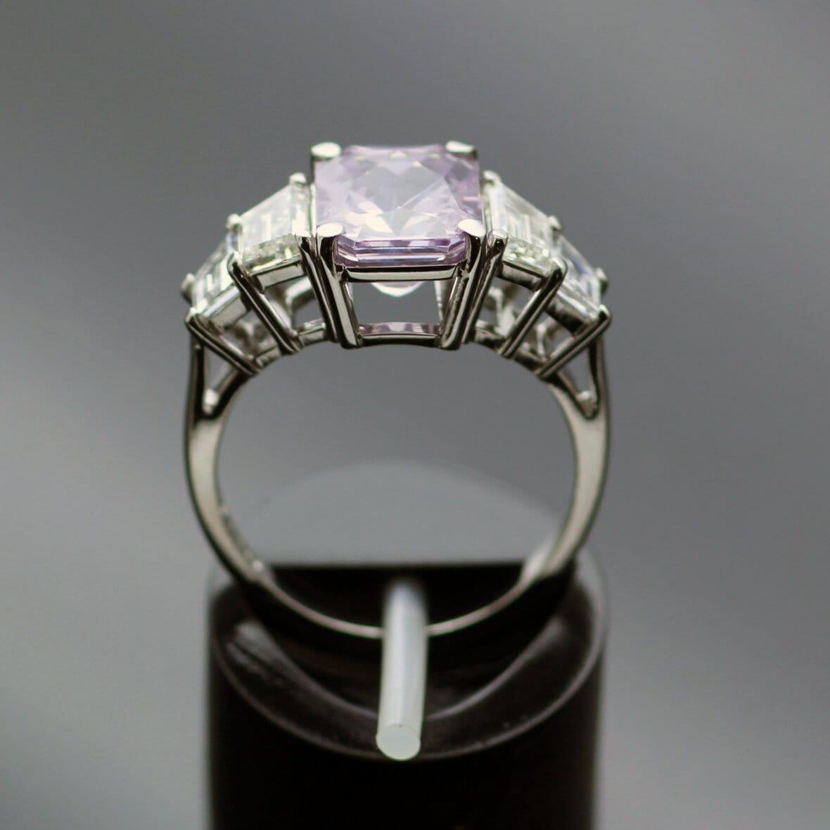 Unique handmade trilogy ring lilac sapphire diamonds platinum
