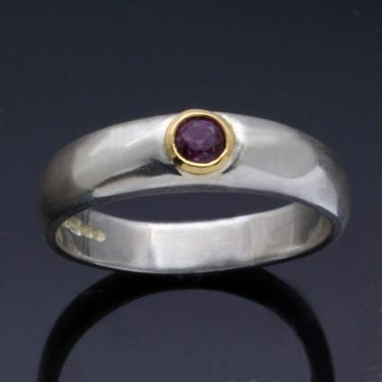 Handmade natural Ruby Yellow Gold Silver unique contemporary ring