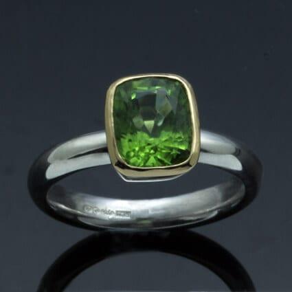 Peridot gemstone 18ct Yellow Gold Silver modern ring