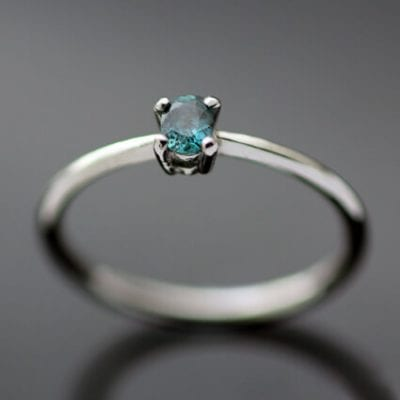 Handmade modern Platinum Alexandrite unique engagement ring