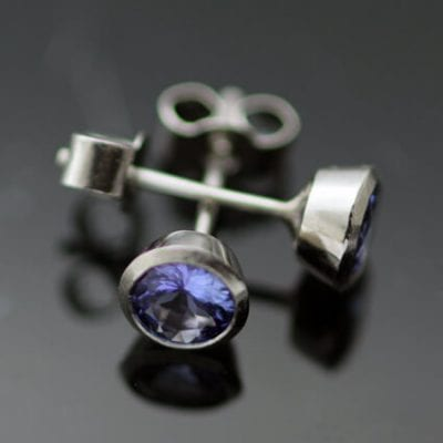Tanzanite gemstone Platinum modern unique earrings