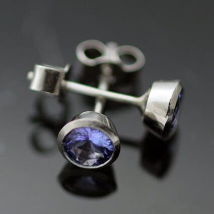 Tanzanite gemstone Platinum modern unique earrings