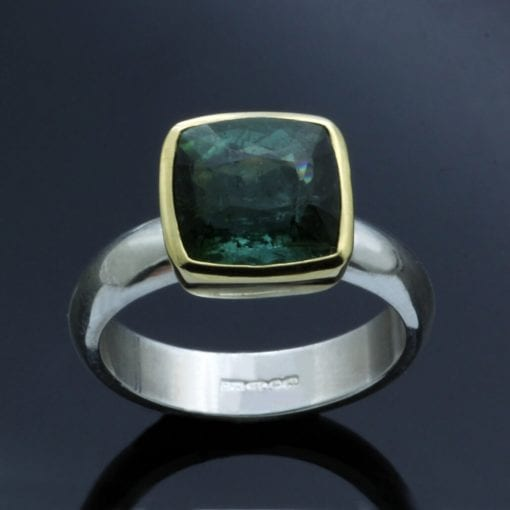 Green Tourmaline handcrafted yellow gold sterling silver modern ring