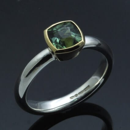 Unique modern handmade Tourmaline gemstone ring