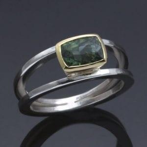 handmade unique modern tourmaline gemstone birthstone ring