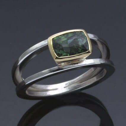 handmade unique modern tourmaline gemstone birthstone ring