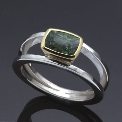 Handmade modern dress ring tourmaline gem yellow gold silver