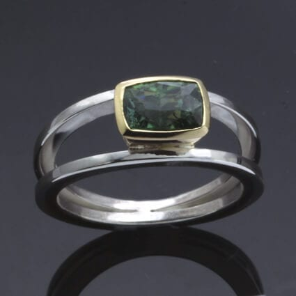 Modern unique green tourmaline gemstone ring yellow gold silver