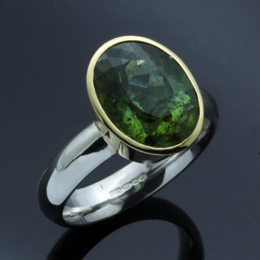unique handmade tourmaline yellow gold ring modern style