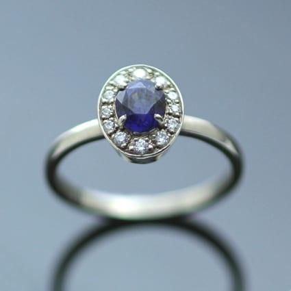 Ceylon Sapphire handmade white gold engagement ring halo diamonds