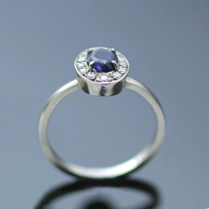 handmade modern sapphire diamond engagement ring