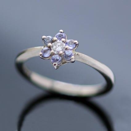 Unique engagement ring Tanzanite Diamond white gold flower design