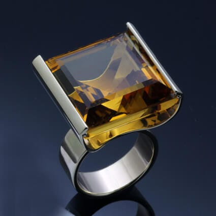 citrine gemstone sterling silver dress ring handmade
