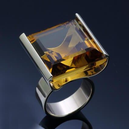 citrine gemstone sterling silver dress ring handmade
