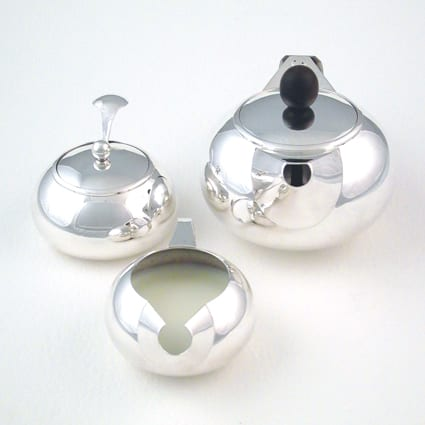handmade solid sterling silver modern tea service wedding gift