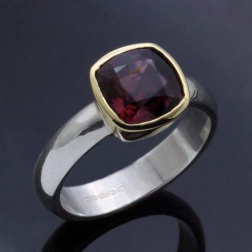 Rhodolite Garnet gemstone yellow gold silver handmade modern ring