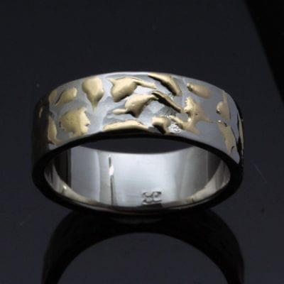 bespoke handmade silver gold flat wedding band